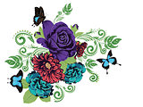 Roses and Butterflies Ornament