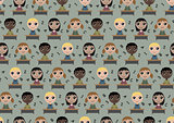 Seamless pattern children in school