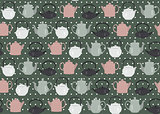 Seamless pattern teapots dots green