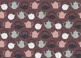 Seamless pattern teapots pink