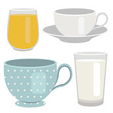 Set of breakfast drinks object