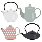Set of icon tea pots