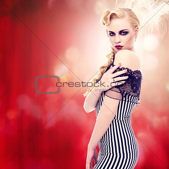 Beautiful retro style girl