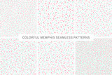 Collection of colorful seamless memphis patterns. Delicate design.