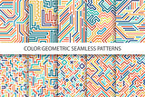 Colorful striped seamless vector patterns - digital multicolor design.