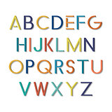 Colorful funny font. Vector english alphabet.