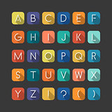 Colorfol english flat alphabet. Latin minimalistic letters