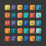 Colorfol english flat alphabet. Latin minimalistic letters