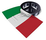 peace symbol and flag of italy - 3d rendering