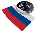 peace symbol and flag of russia - 3d rendering