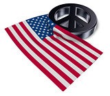 peace symbol and flag of the usa - 3d rendering