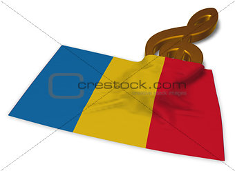 clef symbol and flag of romania - 3d rendering