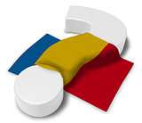 question mark and flag of romania - 3d illustration