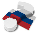 question mark and flag of russia - 3d illustration