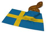 clef symbol and flag of sweden - 3d rendering