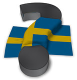 question mark and flag of sweden - 3d illustration