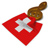 clef symbol symbol and swiss flag - 3d rendering