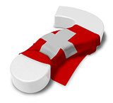 question mark and flag of switzerland - 3d illustration