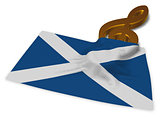 clef symbol and scottish flag - 3d rendering