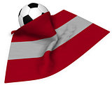 soccer ball and flag of austria - 3d rendering