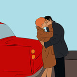Valentine. Vector illustration of beautiful kissing couple near the car. Cartoon style