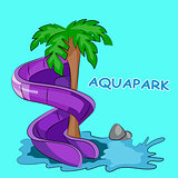 screw Water hill in an aquapark. Vector illustration