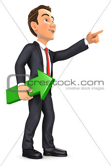 3d businessman holding green arrow and pointing direction