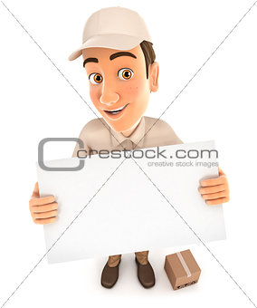 3d delivery man holding a billboard