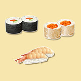 japanese cuisine, sushi with fish, roe
