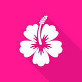 Hibiscus flower flat icon long shadow