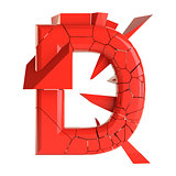 Futuristic red cracked letter. 3D illustration