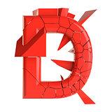 Futuristic red cracked letter. 3D illustration
