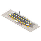 Tram stop isometric icon set