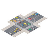 Infographics represented a crossroads controlled by traffic lights isometric icon set