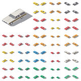 Passenger cars presented at different angles isometric icon set