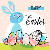 Hand drawn vector abstract creative cute Happy Easter greeting card template with graphic flowers,eggs,funny rabbit and phase Happy Easter in pastel colors.Spring decoration background concept design