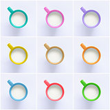 Collage of milk in colorful mugs