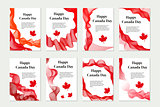 Canada Day set of templates for your design. Brochure, flyer, poster. Isolated on white background. Vector illustration.