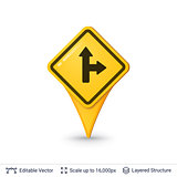 Road sign pin.