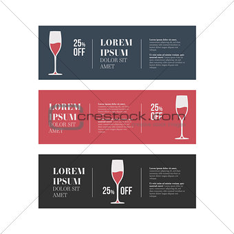 cafe banners set with wine glass