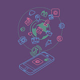 Social Media Colorful Linear Illustration