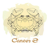 Hand drawn line art of decorative zodiac sign Cancer.