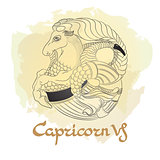 Hand drawn line art of decorative zodiac sign Capricorn.