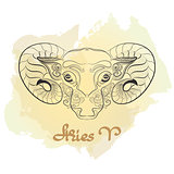 Hand drawn line art of decorative zodiac sign Aries.