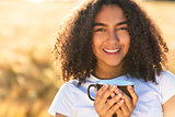 Mixed Race African American Teenager Woman Drinking Coffee Outdo