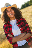 Happy Mixed Race African American Girl Female Young Woman Cowboy