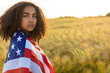 Sad Mixed Race African American Girl Teenager With USA Flag Fiel