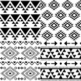 Aztec vector pattern set, Tribal background collection, Navajo design in black pattern on white