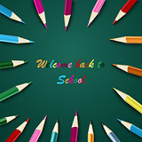 Back to school with colored pencils on green background template