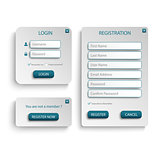Collection login and register web screen with atypical buttons